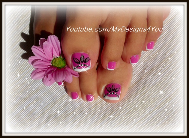 Toenail Art Design Pink And Silver Nail Art Gallery