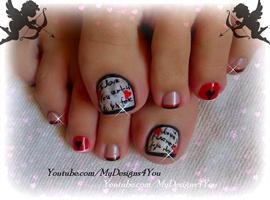 Valentine's Day Love Letter Toe Nail Art