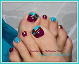 Color Block Toenail Art