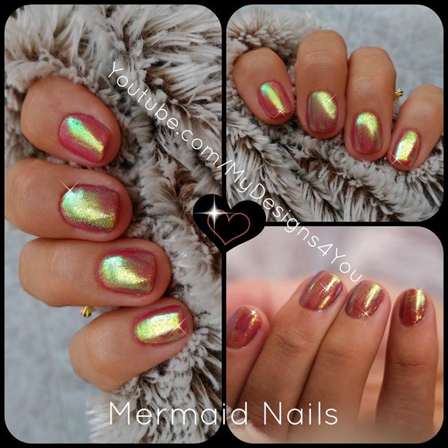 DIY Mermaid Nails   Mirror Glitter Powde - Nail Art Gallery