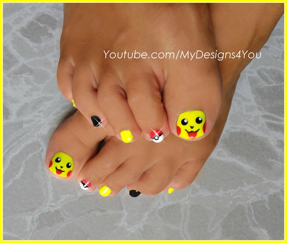 Pokemon Toenail Art, Pikachu Nails