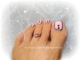 Pink Aztec Toenail Art Design