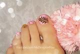 Pink and Gold Toe Nail Art Design
