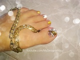 Gold Toenail Art Design