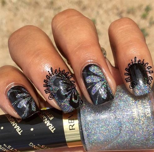 Black Watermarble & Holographic Pearl