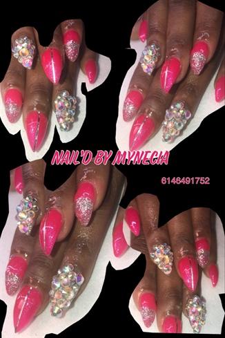 Pink Gel Polish W/stones