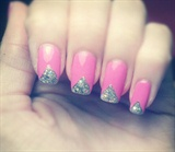 Pink w/ glitter tips