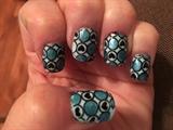Blue Pattern W/black Hearts