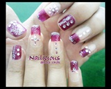 Purple Nails with Rhinestone