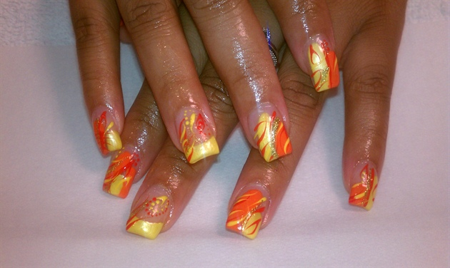 Yellow and orange nail art gallery yellow and orange prinsesfo Gallery