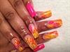 Hot pink, yellow, orange