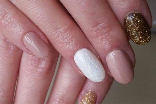 Gel Polish#nude#glitter