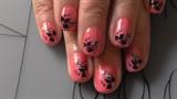 Pink mit Glitzer und stamping Blume