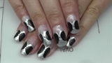 black-silver matt nail design