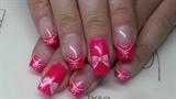 Neon pink summer nail design