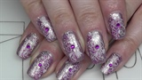 Fullcover nail design with flower stampi