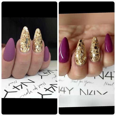 Nail art gold glitter nails
