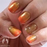 Glittery Fall Gradient Nail Design