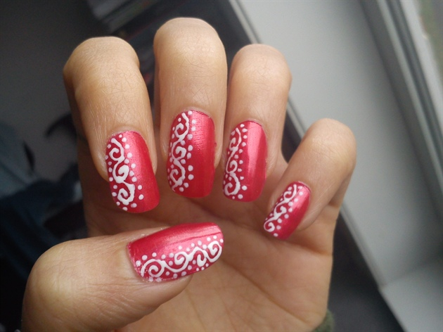 Red with white swirls nail art gallery red with white swirls prinsesfo Images