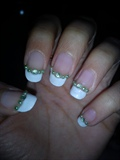 white tips with Green rheinstones+ pearl