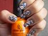 Blue and Orange Floral Nails