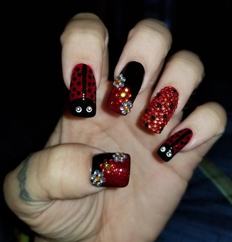 Ladybugs/Rhinestones/Flowers