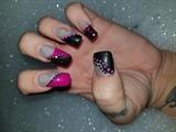 Fuschia/Black glitter rhinestones