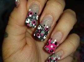 Black, pink, grey, white polka dots