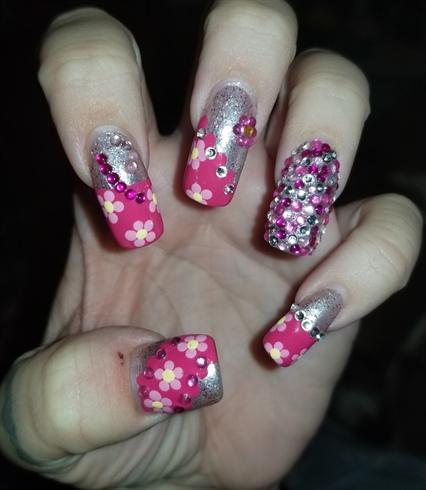 Pink flowers with rhinestones