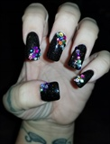 Glitter with mixed rhinestones