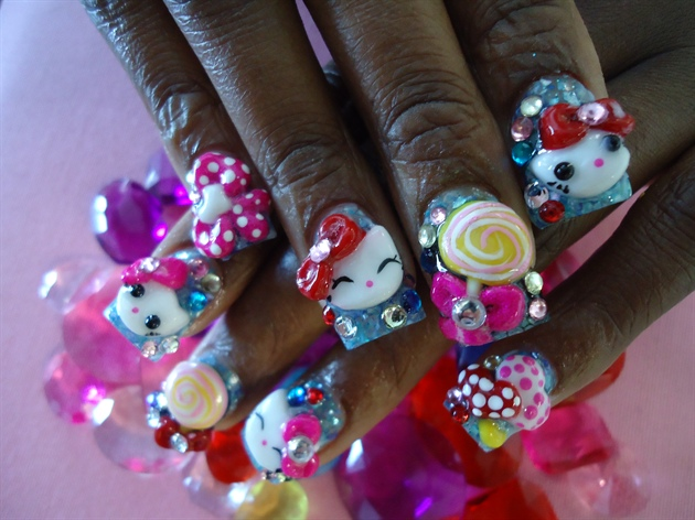 3d Hand Painted Hello Kittyndy Nail Art Gallery