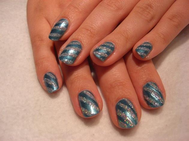 Blue/ silver stripes