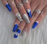 Nail art gallery long nails nail art photos matte blue with swarvoski prinsesfo Gallery