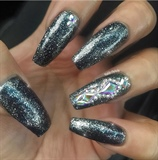 Black Glitter Nails