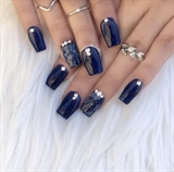 Navy Blue with Floral Design