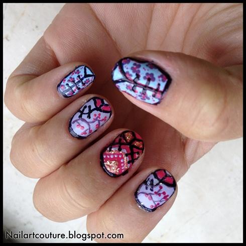 Qipao/Chinese dress inspired nail art