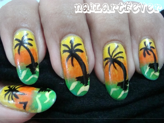 Tropical sunset nails !