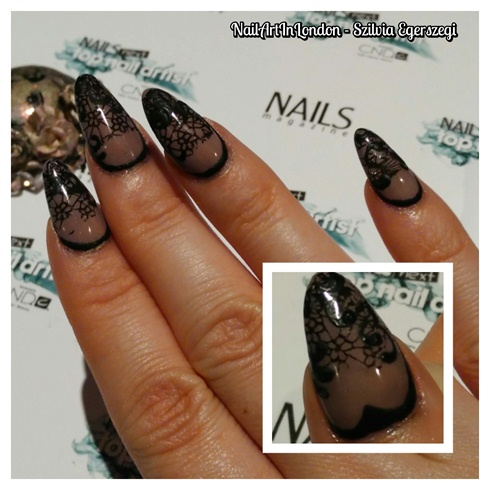 Sculpted Acrylic Nails With Lace Design Nail Art Gallery