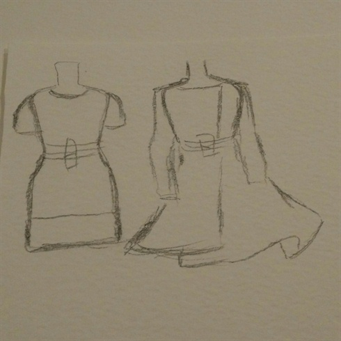 I did a quick sketch from these dresses. I wanted to display them less dominant. I put this sketch into a clear filing bag and I sculpted with acrylic system the flat 3D elements. And of course if it's easier for you, you can print it as well and then you don't need to do a sketch... ;)