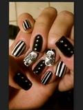 Black & White Stripes (Flower Stickers)
