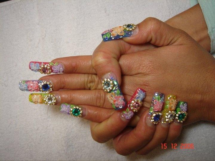 Long Acrylic 3d Nail Art - Nail Art Gallery