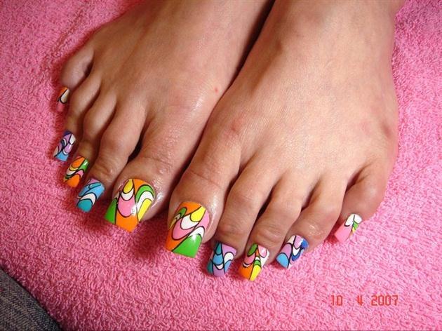 Long Acrylic Toes Nail Art Gallery
