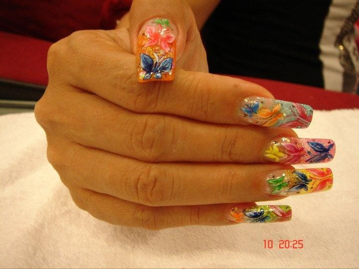 Long Acrylic Nails - Nail Art Gallery
