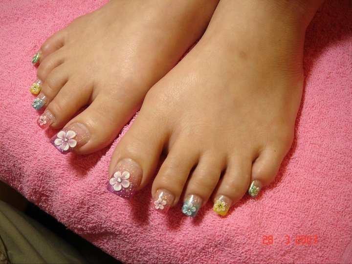 Long Acrylic Toes - Nail Art Gallery