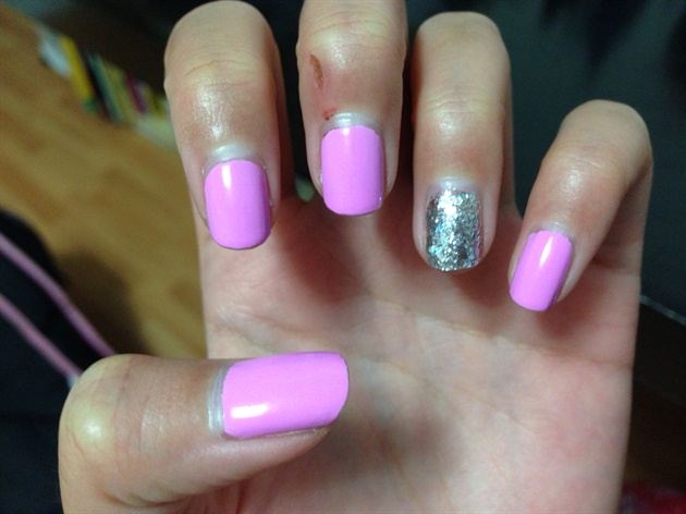 Lilac Pink with Colorful Silver Glitter