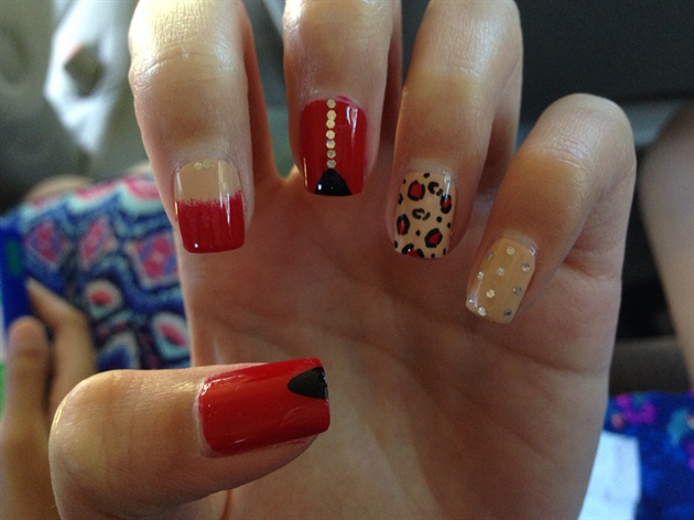 Red and Nude Leopard and Triangle Nails