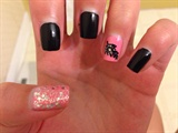Black and Pink Feather Nails