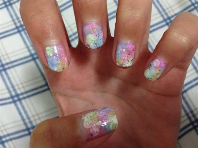 Pastel Bokeh Nails