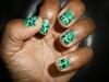 Green Leopard Half Moon Nails