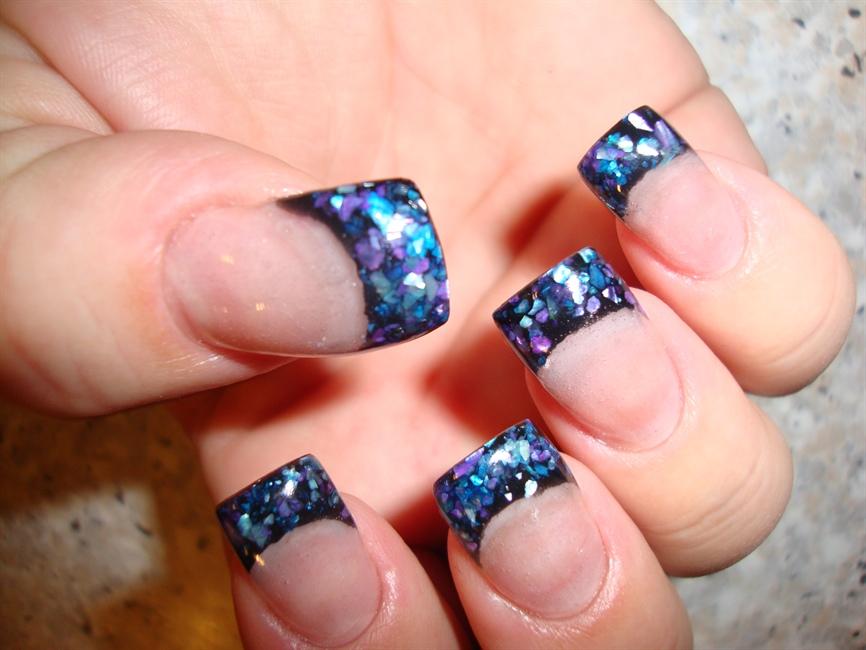 Shell on black acrylic nail art gallery prinsesfo Choice Image